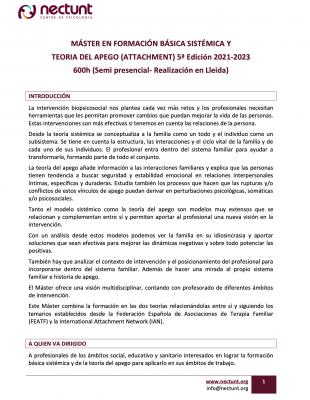 Máster en formación básica sistémica y teoria del apego (attachment) 5a Edición 2021-2023 600h (Semi presencial- Realización en Lleida)